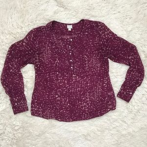 Maroon Converse ONE Star sheer blouse